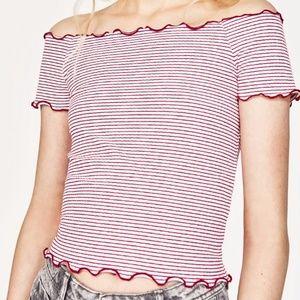 NWT   Zara red & white stripe crop top